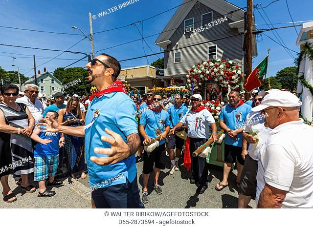 USA, Massachusetts, Cape Ann, Gloucester, St. Peter's Fiesta, Italian-Portuguese fishing community festival, religious procession, chanting to St