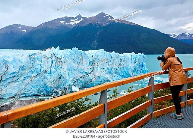 Tourist taking pictures. Perito Moreno glacier. Los Glaciares National Park. Near EL Calafate. Santa Cruz province. Patagonia. Argentina