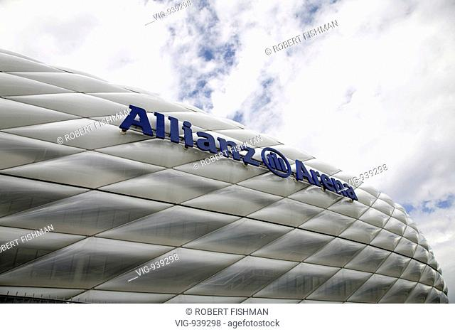 GERMANY, MUNICH, 09.07.2008, The Allianz Arena, the football stadium of the football club FC Bayern Muenchen in Munich. Our picture shows the logo oft the...