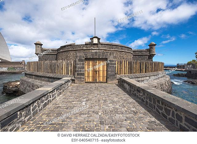 Medieval fortress castle of St Jhon Baptist, built in 1643 in Santa Cruz de Tenerife, Canary islands Spain
