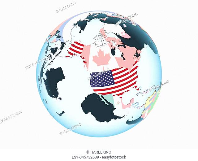 USA on bright political globe with embedded flag. 3D illustration isolated on white background