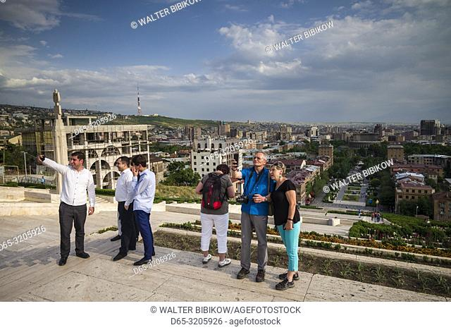 Armenia, Yerevan, The Cascade, high angle view of city skyline with visitors, NR