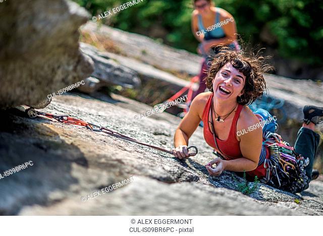 Girlfriends rock climbing, Malamute, Squamish, Canada