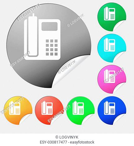 home phone icon sign. Set of eight multi colored round buttons, stickers. Vector illustration