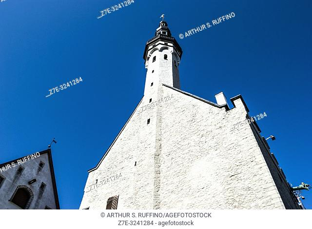 Tallinn Town Hall tower and spire. Tallinn Town Hall (Tallinna raekoda). Old Town, Tallinn, Estonia, Baltic States