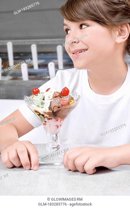 Close-up of a girl with ice cream