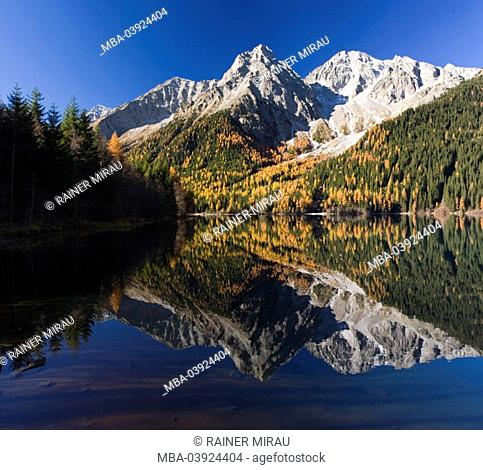 Italy, South-Tyrol, Antholzer lake, mountain-landscape, autumn-mood
