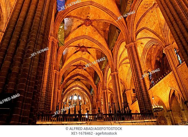 Santa Eulalia's Cathedral, Gothic, Barcelona, Catalonia, Spain