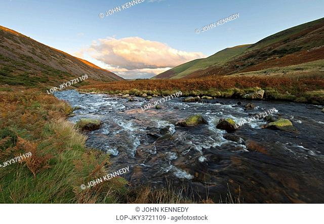 England, Cumbria, Lake District National Park. The River Caldew flowing towards Caldbeck Common in the Lake District National Park