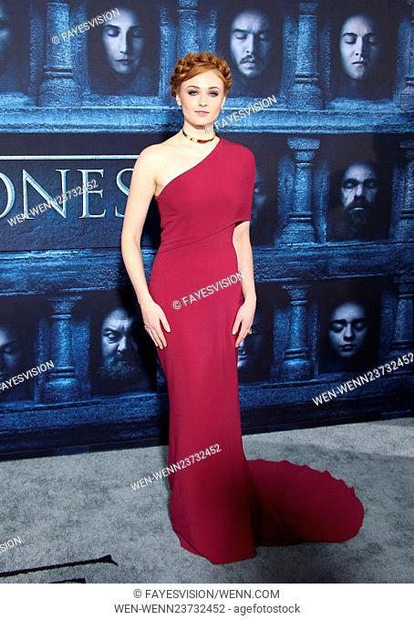 """Los Angeles Premiere for season 6 of HBO's """"""""GAME OF THRONES"""""""" Featuring: Sophie Turner Where: Hollywood, California, United States When: 10 Apr 2016 Credit:..."""