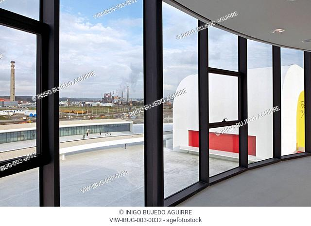 NIEMEYER CENTER IN AVILES, SPAIN BY OSCAR NIEMEYER.VIEW OF PUBLIC PLAZA AS SEEN FROM TOWERAVILÉS, SPAIN, Architect