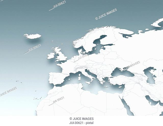 map, Western Europe, white, grey, political, physical