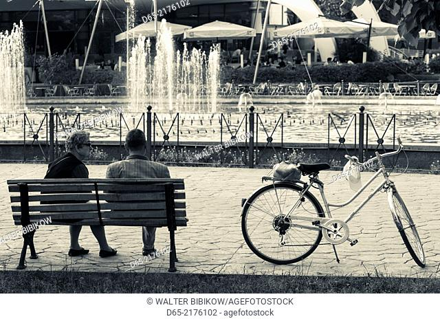 Albania, Tirana, Rinia Park and fountains