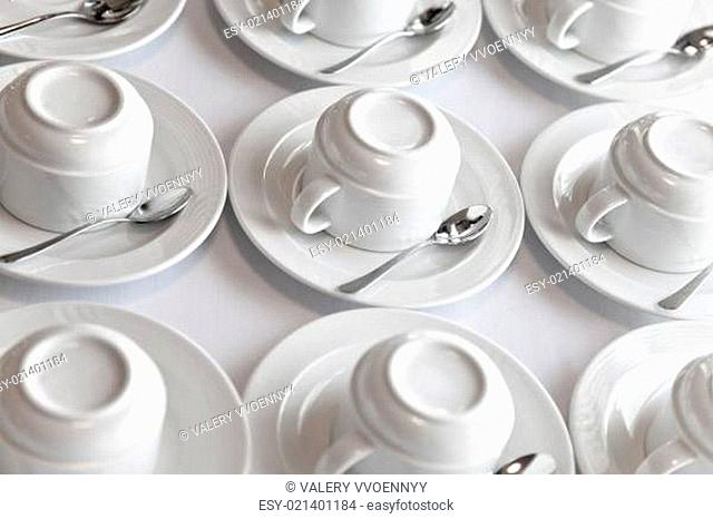 clean tea sets on table