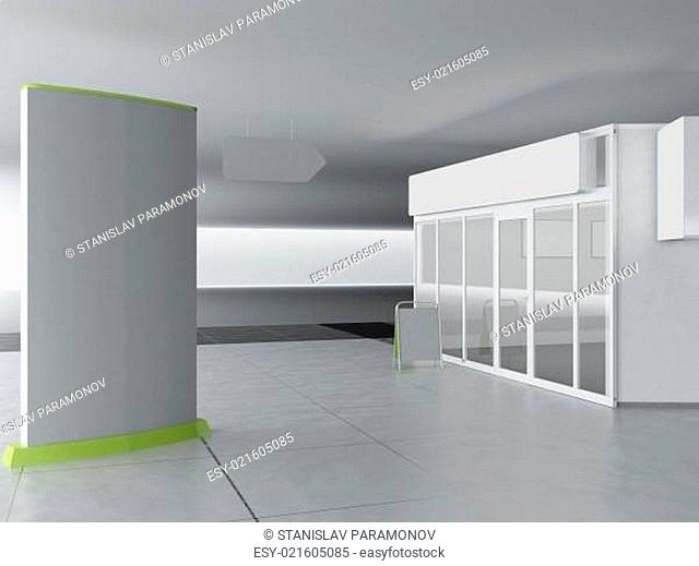 Illustration of shop - kiosk, interior and exterior