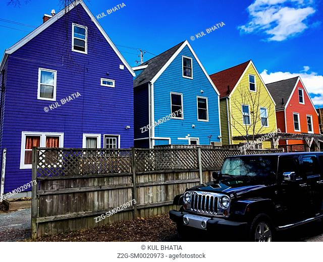 String of Colorful homes, like San Francisco's painted ladies in USA, Halifax, Nova Scotia