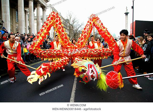 Costumed performers take part in the Chinese New Year Parade in central London, along Charing Cross Road and Chinatown, with further celebrations in Trafalgar...