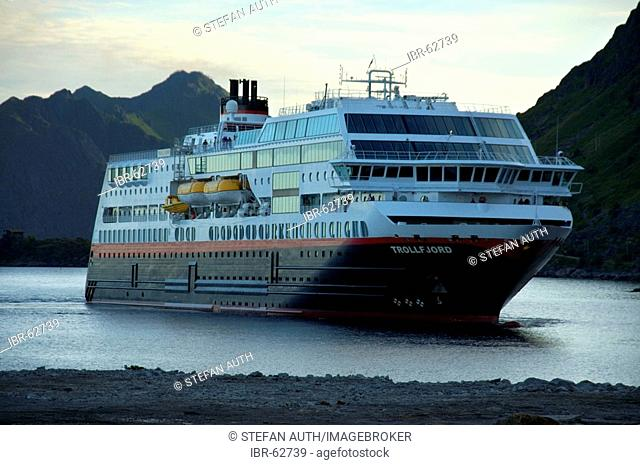 Hurtigruten ferry Trollfjord in the port of Stamsund Lofoten Norway