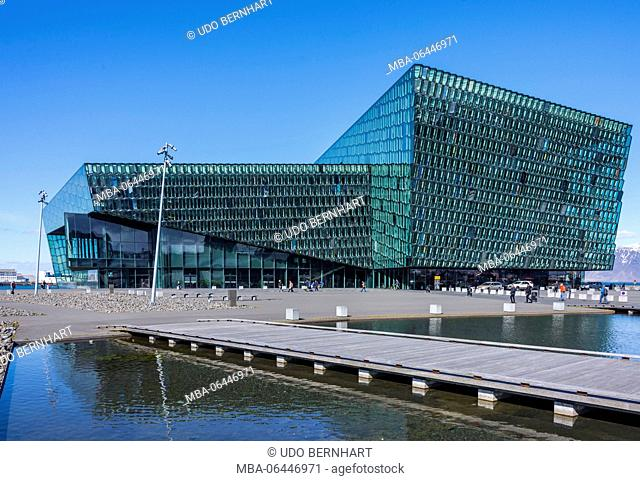Iceland, capital of Reykjavík, smoke bay, peninsula Reykjanesskagi, conference centre and concert hall Harpa, outside