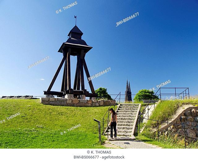 Uppsala, Domkyrkan, Cathedral, wooden clocktower, clock Gunilla, Sweden, Uppland, Uppsala