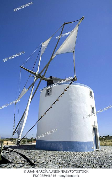 Traditional windmill belong to Sesimbra countryside region, Portugal
