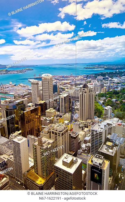 Overview of the skyline of the Central Business District downtown in Auckland, New Zealand seen from the Sky Tower
