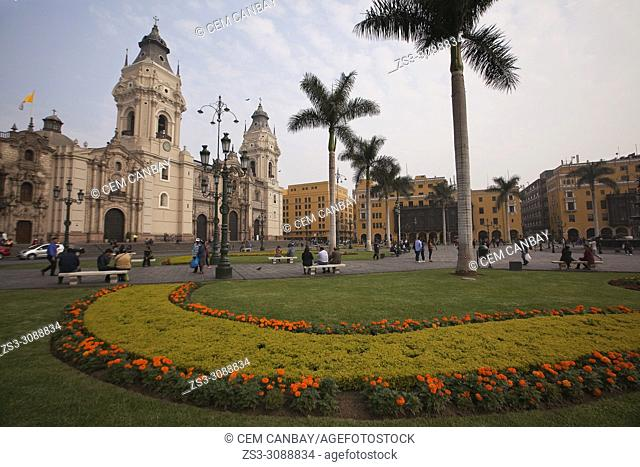 View to the Basilica Cathedral located in the Plaza Mayor-Main Square at the historic center, Lima, Peru, South America