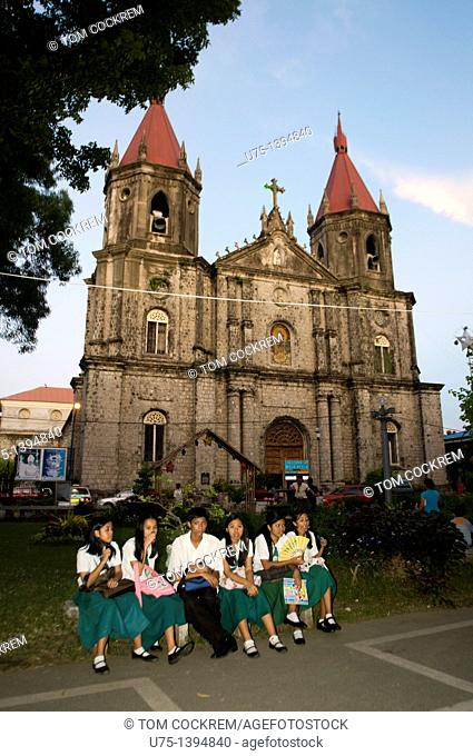 st anne's church from plaza, molo, iloilo, panay, philippines