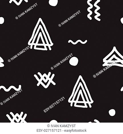 Vector seamless geometric doodle pattern. Abstract minimalist pattern with linear figure in black and white. Design background for fashion textile print
