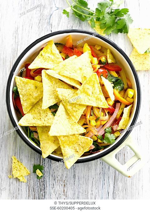 Tortilla crisps with Mexican salad