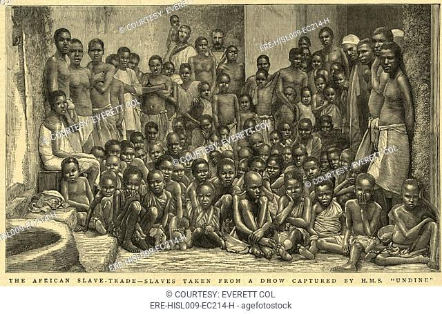 The British navy intercepted slave ships throughout the 19th century. In 1884, the H.M.S. 'Undine' liberated this group of captives taken from an Arab dhow