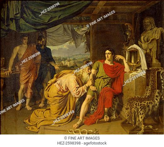 Priam tearfully supplicates Achilles, begging for Hector's body, 1824. Found in the collection of the State Tretyakov Gallery, Moscow