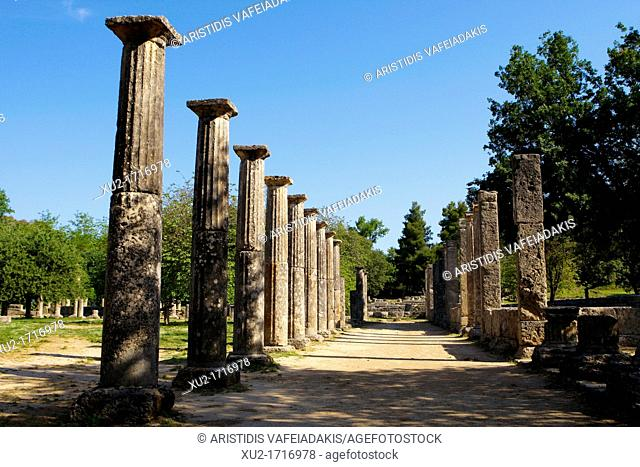 Ancient Olympia  The Palaestra, built in 3rd c  BC, was a square building with an interior court, and it was used for training the wrestlers
