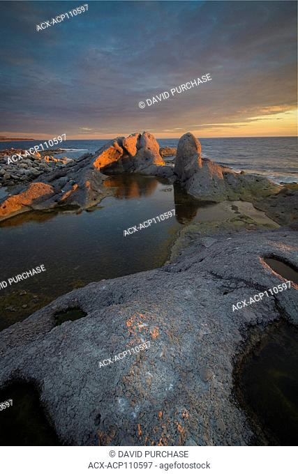 Unique rock formation, Sunset over the Gulf of ST Lawrence, Daniel's Harbour, Newfoundland & Labrador