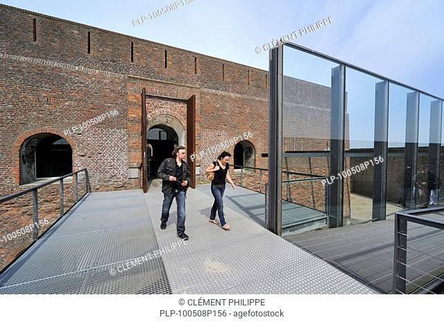 Tourists at the entrance of the Fort Napoleon at Ostend, Belgium