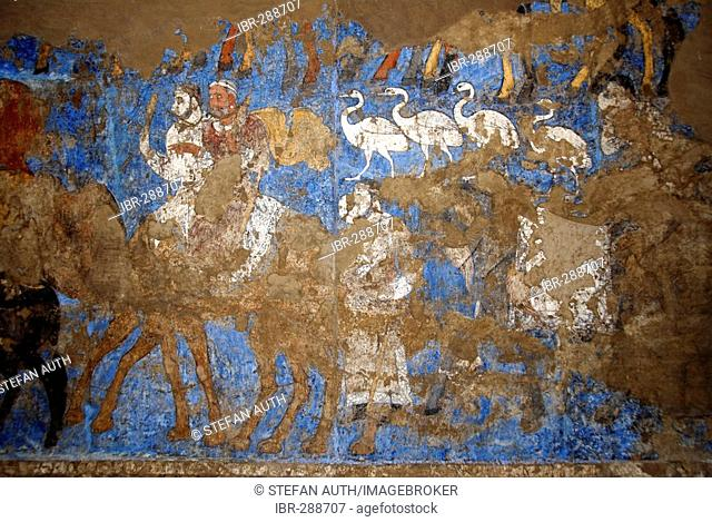Sogdic wall painting wedding procession in the Museum of Afrasiab Samarkand Uzbekistan