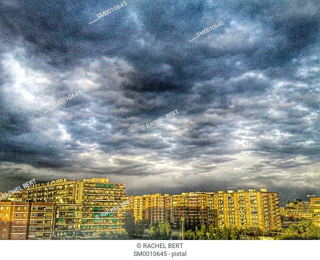 Storm in Clot neighborhood, Sant Martí, Barcelona, Catalonia