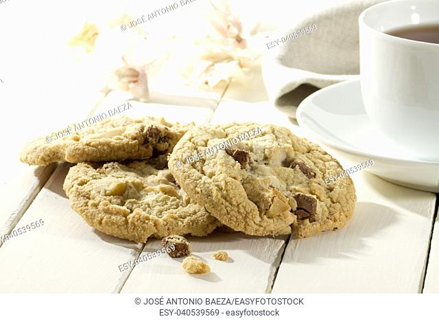tasty crispy cookies closeup with chocolate and macadamia nuts on a wooden white table
