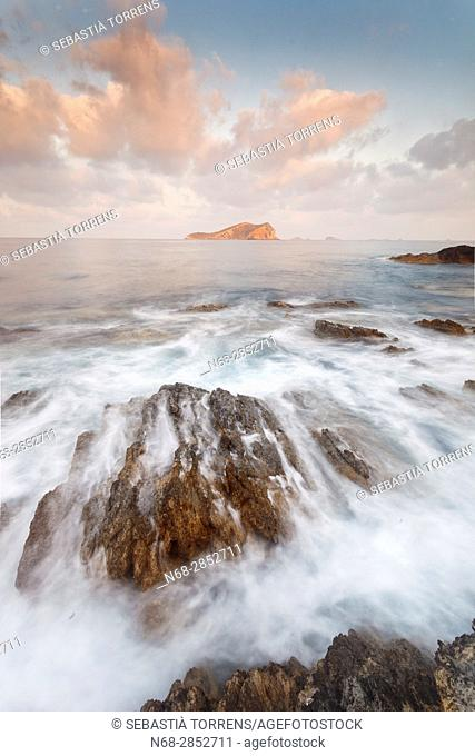 Coast of Ibiza and Espartar's island, Ibiza, Balearic Islands, Spain