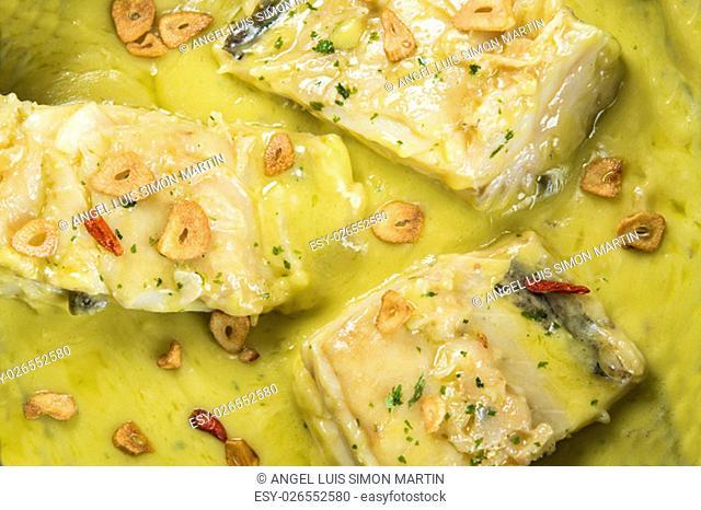 Salt cod in a pilpil sauce a typical Spanish recipe