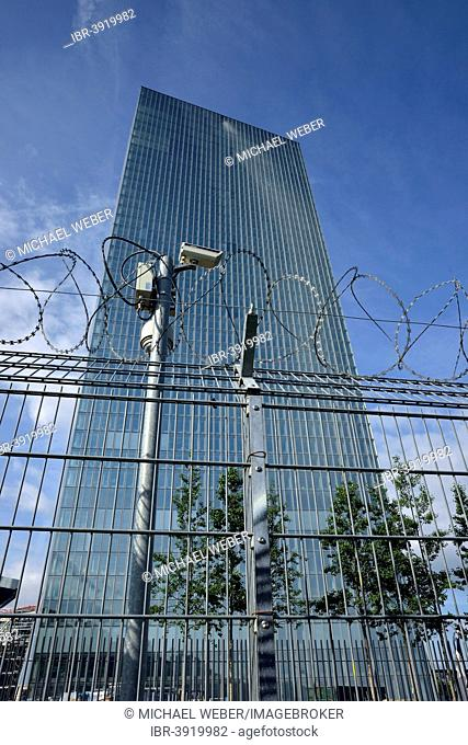 CCTV camera, barbed wire fence, the new building of the European Central Bank, ECB, Ostend, Frankfurt am Main, Hesse, Germany