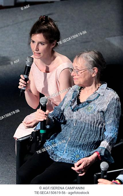 Amanda Knox with Sunny Jacobs attend the conference of the Criminal Justice Festival at the University of Modena, Italy, 15 June 2019