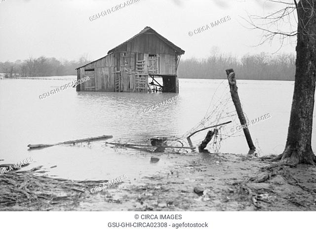 Farm Covered with Floodwaters, near Ridgeley, Tennessee, USA, Walker Evans for Farm Security Administration, February 1937