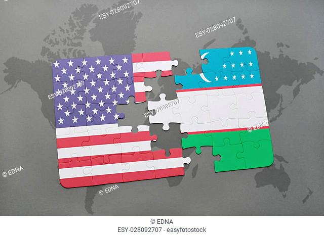 puzzle with the national flag of united states of america and uzbekistan on a world map background