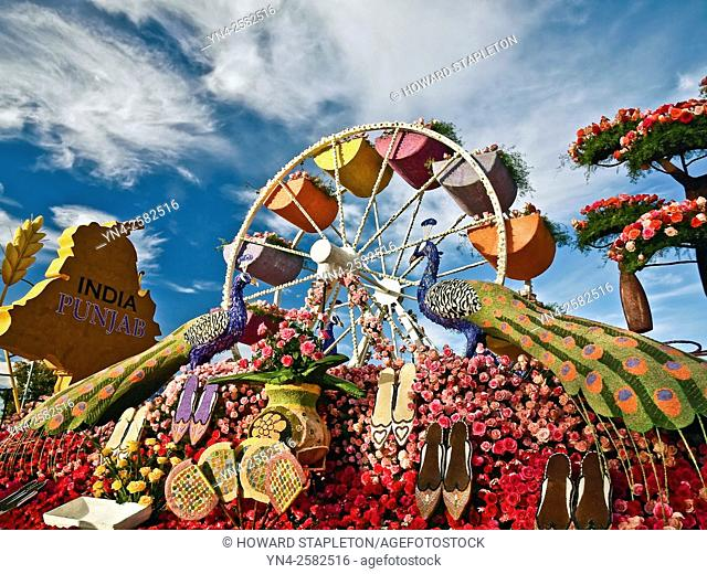 Portion on a 2016 Rose Parade Float presented by followers of the Sikh faith. Sikhism is the worlds 5th largest religion and is not part of Hinduism