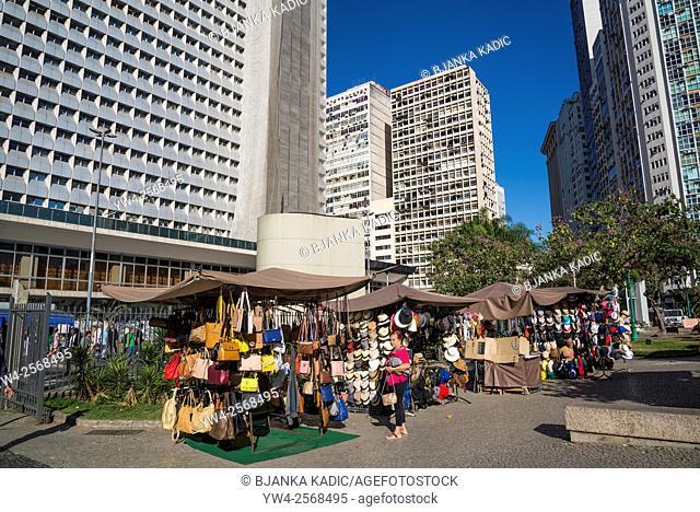 Largo da Carioca, Crafts market and High-rise buildings, Rio de Janeiro, Brazil