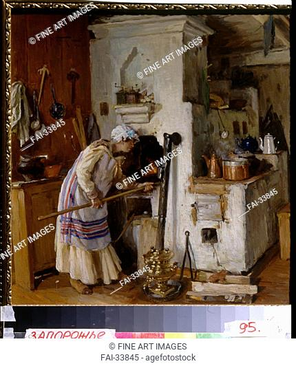 A new home dare. At the Stove by Makovsky, Alexander Vladimirovich (1869-1924)/Oil on cardboard/Russian Painting, End of 19th - Early 20th cen