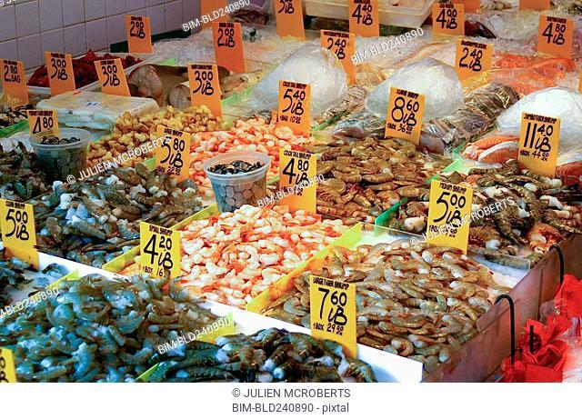 Fresh seafood on ice at market