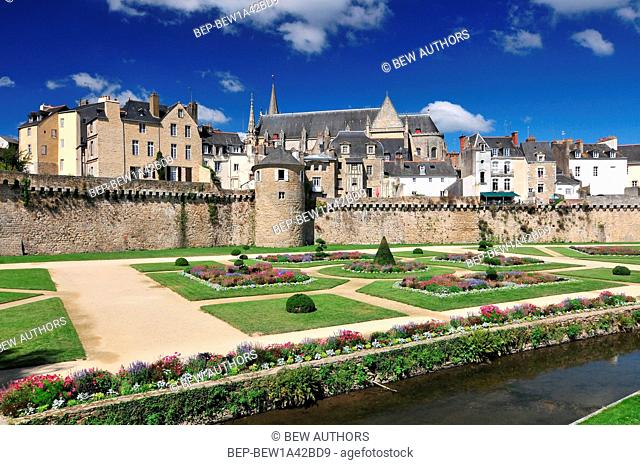 The walls of the ancient town and the gardens in Vannes. Brittany Northern France