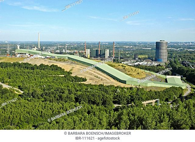 View from the tetrahedron on the skiing hall, gas tank, coking plant Prosper, Bottrop, Oberhausen, Ruhr area, North Rhine-Westphalia, NRW, Germany
